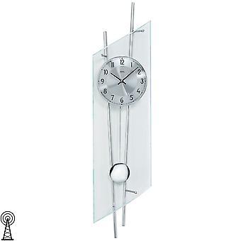 Radiogestuurde Wandklok met slinger slinger klok radio klok in mineraalglas zilveren metalen staven