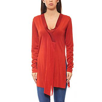 Laura Scott autumn long blouse with rust-red V-neck