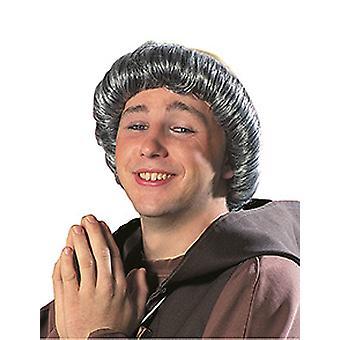 Monnik kale grijze mannen pruik krans haartoebehoren carnaval Halloween