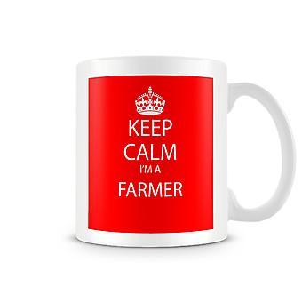Mantenga calma soy una taza impresa de granjero