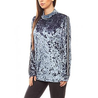 B.C.. best connections of shimmering ladies velvet sweater blue