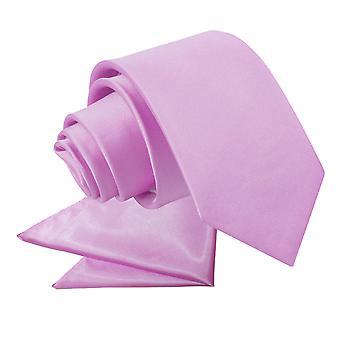 Lila platte satijnen stropdas & zak plein voor jongens instellen