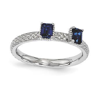 2.5mm zilver gepolijst Prong set Rhodium-plated stapelbare expressies gemaakt Sapphire twee stenen Ring - Ring Siz