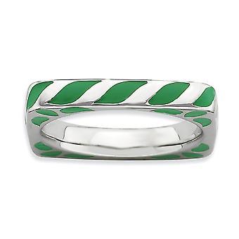 3.25mm Sterling Silver rodium-plated stapelbar uttryck polerad grön emaljerad fyrkantig Ring - Ring storlek: 5 till 10