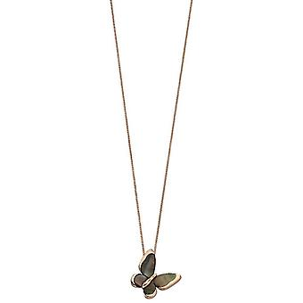 Elements Silver Butterfly Slider Mother of Pearl Pendant - Black/Rose Gold