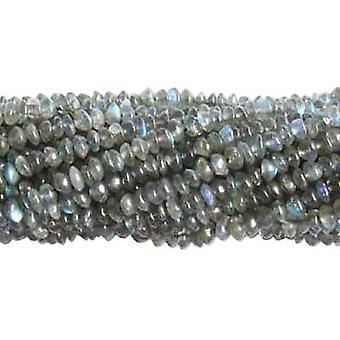 Strand 120+ Grey Labradorite Approx 3-5mm Plain Rondelle Handcut Beads DW1230