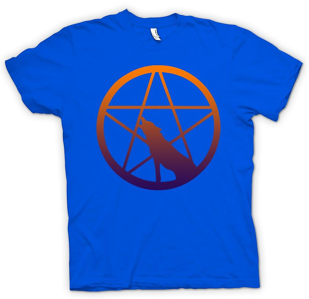 Herren T-Shirt - Wolf Howling Pentagram