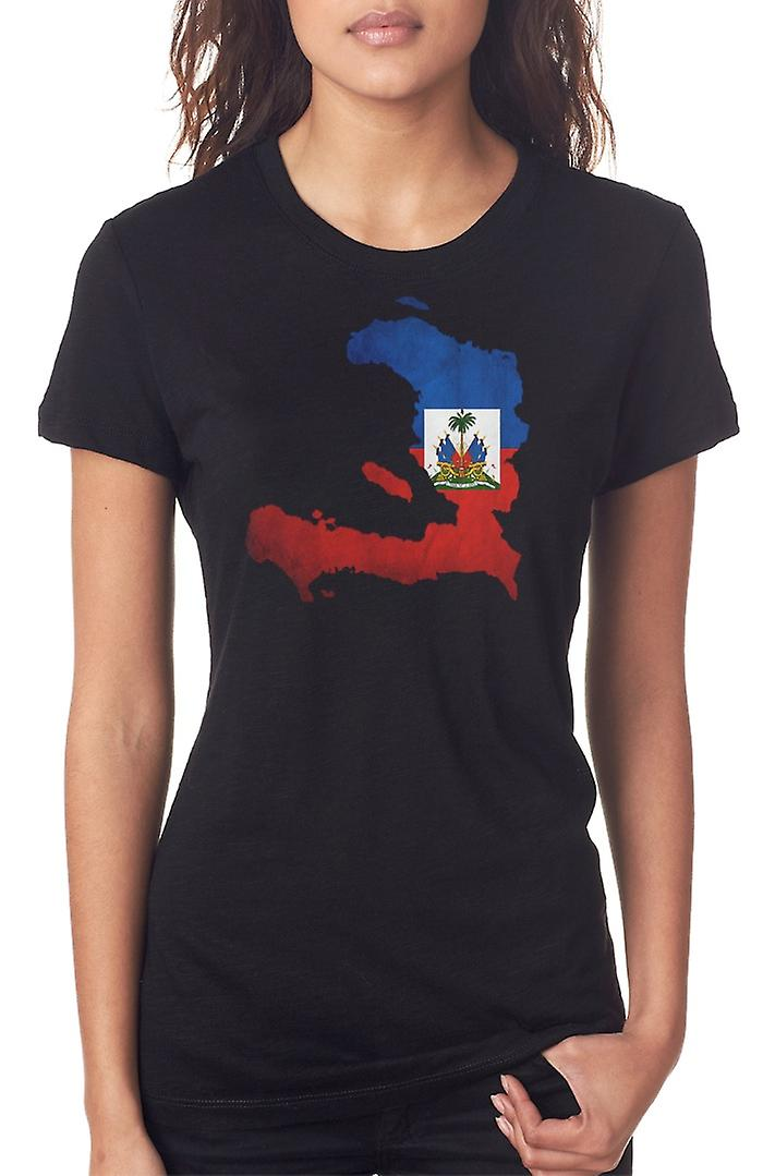 Haiti Haitian Flag Map Ladies T Shirt