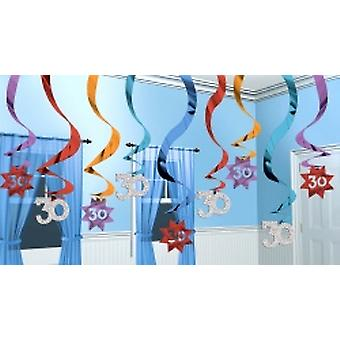 30 Hanging Swirl Decoration Party Continues 15 strings