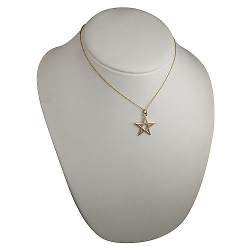 9ct Gold 26mm plain Pentangle Pendant with a cable Chain 16 inches Only Suitable for Children