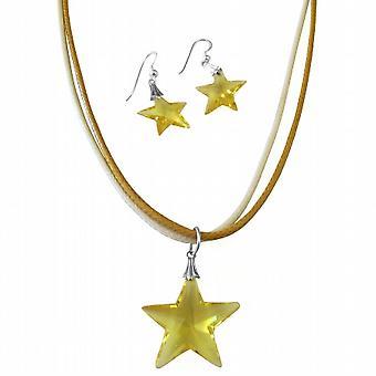 Topaz Swarovski Crystals Star Fish Pendant Jewelry Pendant & Earrings