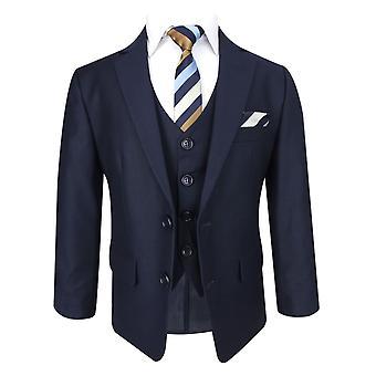 弗拉明戈男孩海军蓝色定制适合西装套装