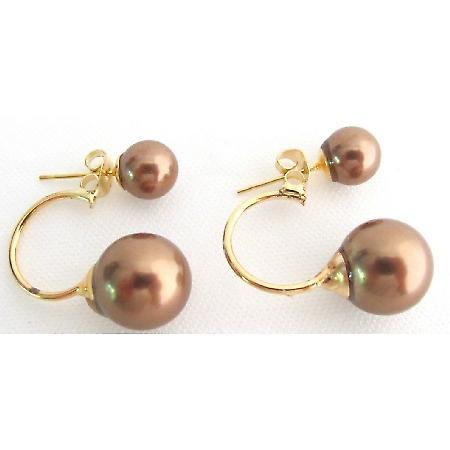 Double Pearl Ear Jacket Earring Beautiful Brown Color