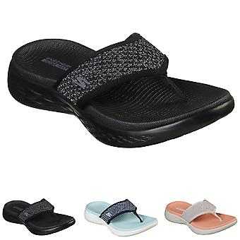 Womens Skechers On The Go 600 Glossy Lightweight Yoga Cushioned Sandals