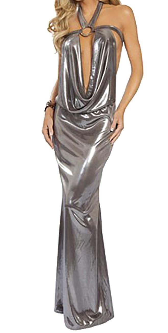 Waooh - Long dress sexy silver evening