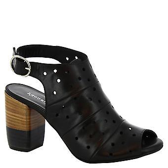 Leonardo Shoes Women's handmade heeled sandals in black openwork leather