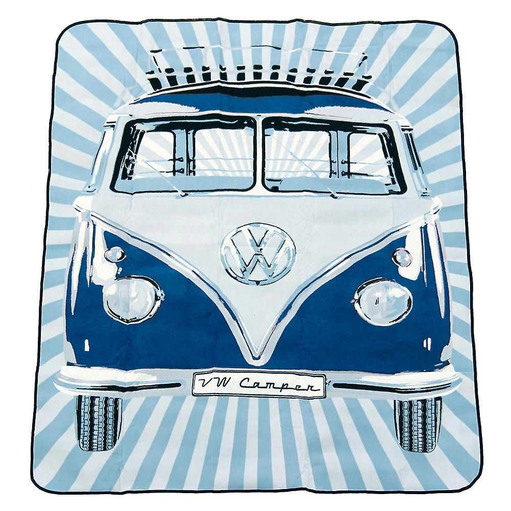 Officielle VW Camper Van Picnic tæppe / rejse tæppe med regnskabsmæssige taske - blå