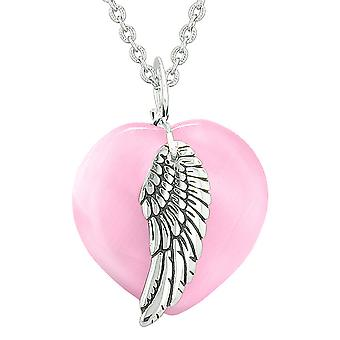 Guardian Angel Wing Inspirational Amulet Magic Heart Pink Simulated Cats Eye Pendant 18 inch Necklace