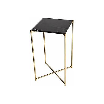 Gillmore Space Black Marble Square Lamp Table With Brass Cross Base
