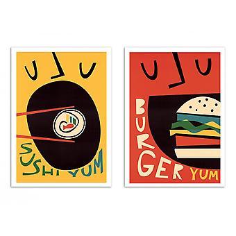 2 art-affischer 30 x 40 cm-sushi och Burger-räv och sammet