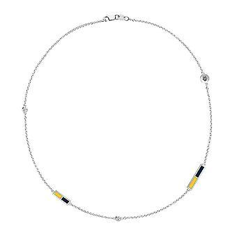 U of California Irvine-anteaters logo graveret diamant 5-Stations halskæde i gul og mørkeblå