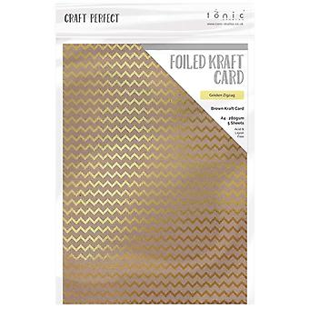 Craft Perfect by Tonic Studios A4 Foiled Craft Card Golden Zigzag