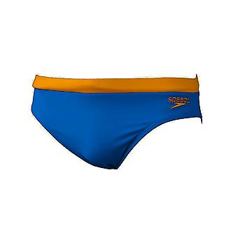 Speedo 7cm Essential Logo Mens Swimming Trunk Brief Blue/Yellow