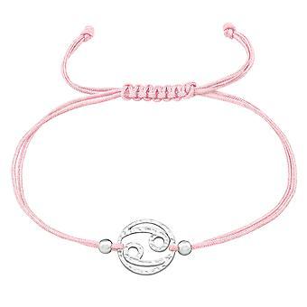 Signe de zodiaque de cancer - 925 Argent sterling - Bracelets corded de corde de corde de corde de corde de nylon - W39002X