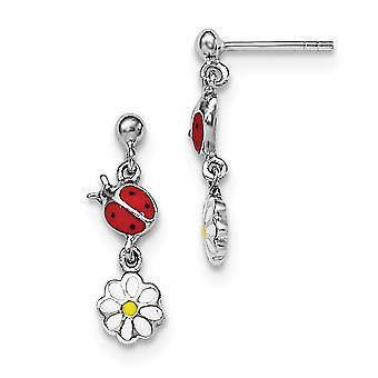 925 Sterling Silber Rh vergoldet für Jungen oder Mädchen emailliert Marienkäfer und Gänseblümchen Ohrringe - 2,5 Gramm