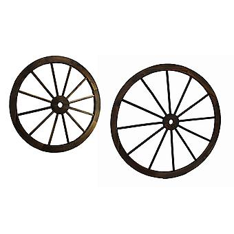 Pair of Wooden Wagon Wheel Decorative Wall Hangings 24 and 32 In.