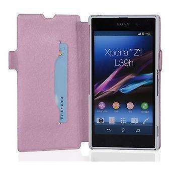 Cadorabo tilfældet for Xperia Z1 Case Cover-telefon tilfældet med stativ funktion og kort tilfældet i Ultra Slim design-sag Cover sag case sag bog