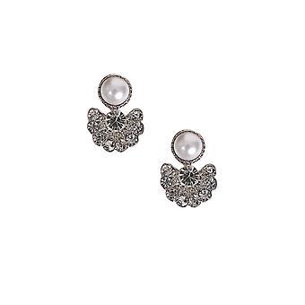 Pearl & Diamanté Cluster Earrings