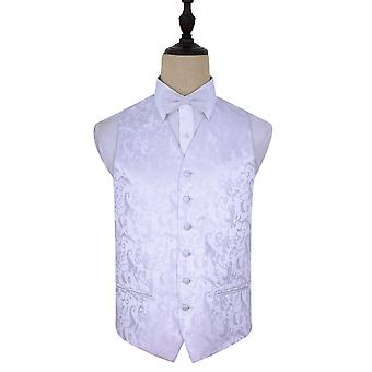 White Passion Floral Patterned Wedding Waistcoat & Bow Tie Set