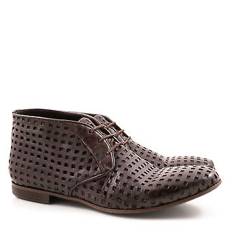 Handmade men's chukka boots in perforated brown leather