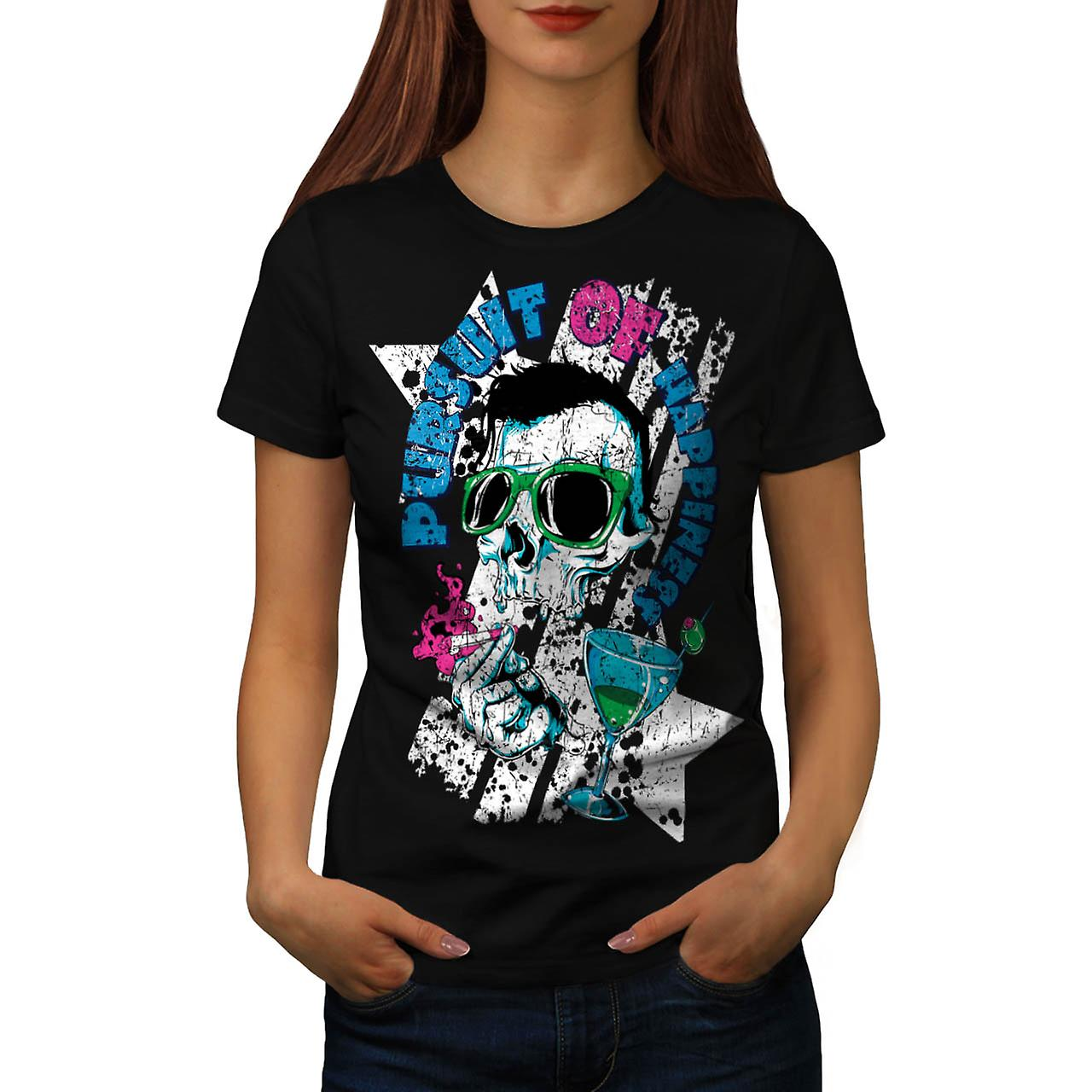 Pursuit Of Happiness Skull Drink Women Black T-shirt | Wellcoda