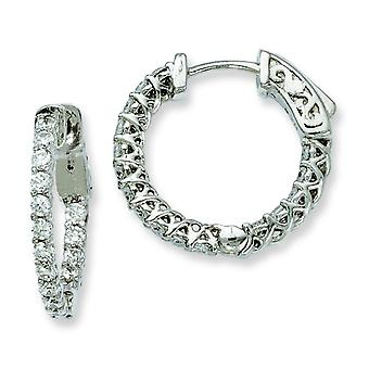 Sterling Silver Polished Prong set Hinged hoop Safety clasp Rhodium-plated Cubic Zirconia Round Hoop Earrings