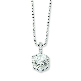 Sterling Silver and CZ Brilliant Embers Hexagon Necklace - 18 Inch