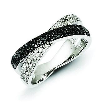 Sterling Silver Polished Gift Boxed Rhodium-plated Rhodium Plated Back and White Diamond Ring - Ring Size: 6 to 8