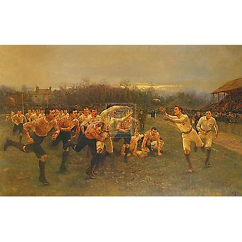 Rugby kamp Poster trykk av William Barnes Wollen (38 x 28)