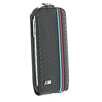 BMW M Flip Leather Case Cover for Samsung i9500 Galaxy S4 carbon black
