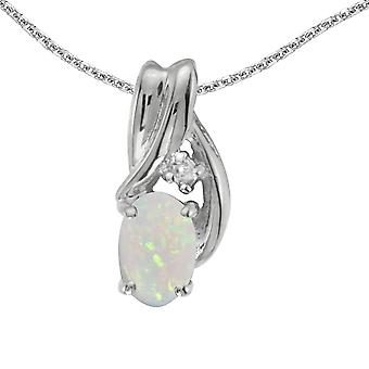 10k White Gold Oval Opal And Diamond Pendant with 16