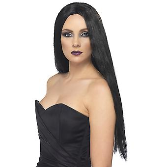 Smiffys Witch Wig Black Halloween Costume Fancy Dress Accessory Long Straight