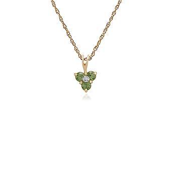 Gemondo 9 kt gul guld 0.39ct Peridot & diamant blomster vedhæng på 45cm kæde