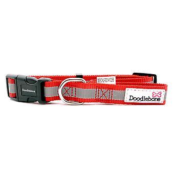 Doodlebone Reflective Bold Tape Collar Red Medium 20mm X28-46cm