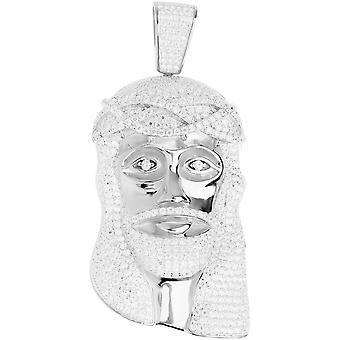 Premium Bling - 925 sterling silver Jesus head pendant