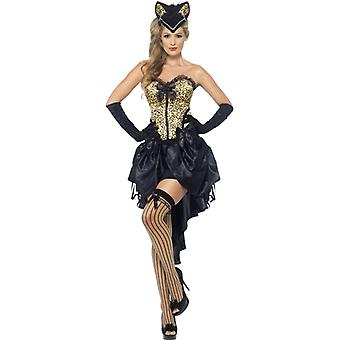 Burlesque kitten costume with corset and adjustable skirt size M