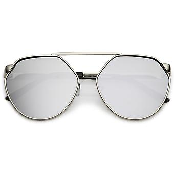 Oversize Geometric Metal Aviator Sunglasses With Mirrored Flat Lens 60mm