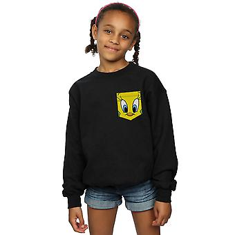 Looney Tunes Girls Tweety Pie Face Faux Pocket Sweatshirt
