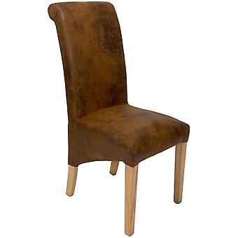 Classic Roll Top Dining Chair - Brown Microfibre