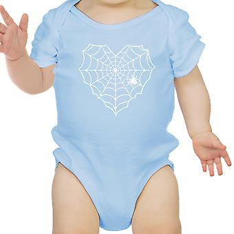 Heart Spider Web Baby Halloween Bodysuit Blue Cotton Infant Bodysuit